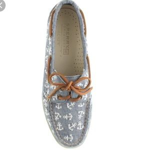 Sperry for jcrew - chambray with white anchors